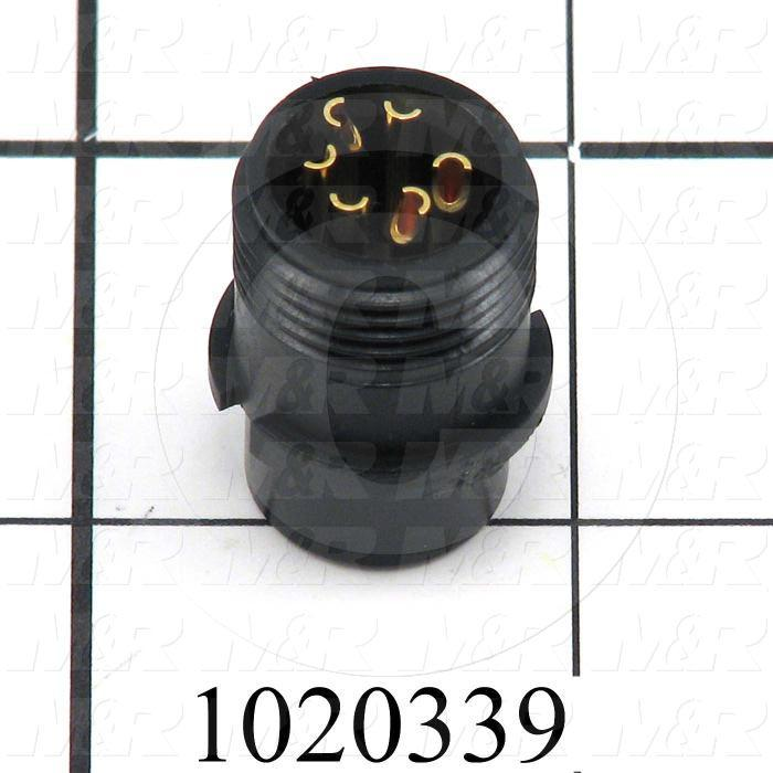 Connector, Cable End, Male, 6-Pin, TWISTLOCK Terminal, 5.08MM, Solder Cup