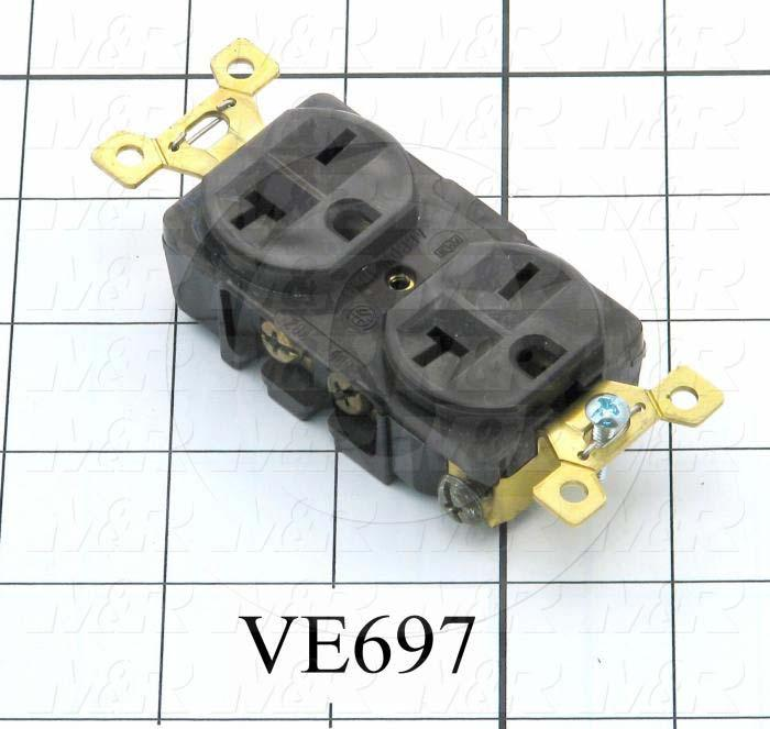 Connector for Power, Duplex Outlet, 250V, 20A
