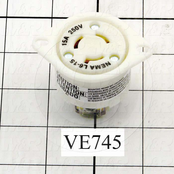 Connector for Power, Flanged Outlet, 3 Wires, 250V, 15A