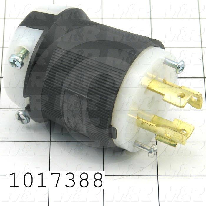 Connector for Power, Insulgrip Plug, 3 Poles, 4 Wires, 600V, 3 Phase, 30A, NEMA L17-30P