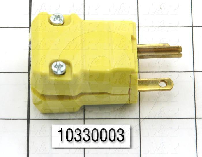 Connector for Power, Male Plug, 2 Poles, 3 Wires, 250V, 15A, NEMA 6-15P
