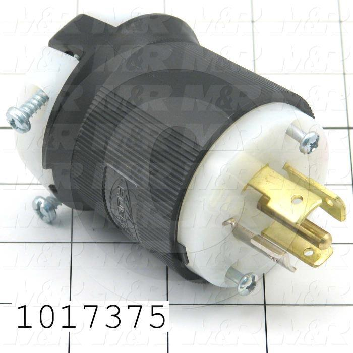 Connector for Power, Twist lock, Male Plug, Insulgrip, 4 Poles, 5 Wires, 277/480VAC, 3 Phase, 20A