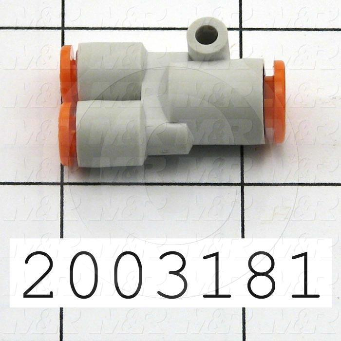 "Connectors & Multi-connectors, Y Different Diameter Type, 1/4"" Port In, 2 - 5/32 Port Out"