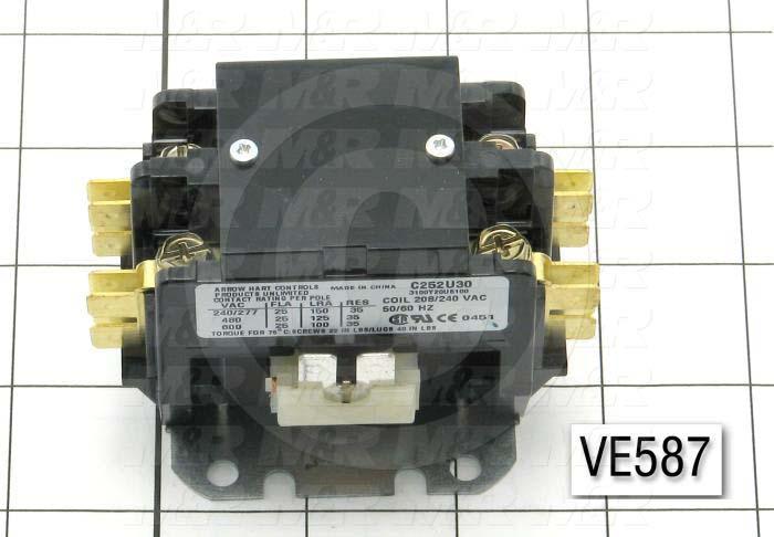 Contactor, 2 Poles, 240VAC Coil, 25A