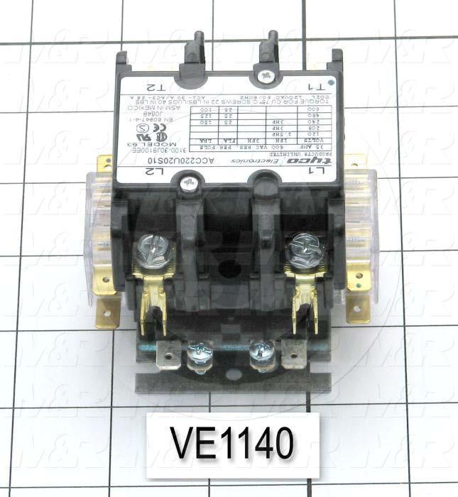 Contactor, 2 Poles, 25A, 120VAC