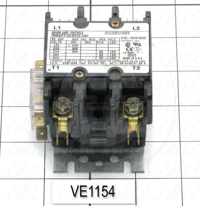 Contactor, 2 Poles, 25A, 240VAC