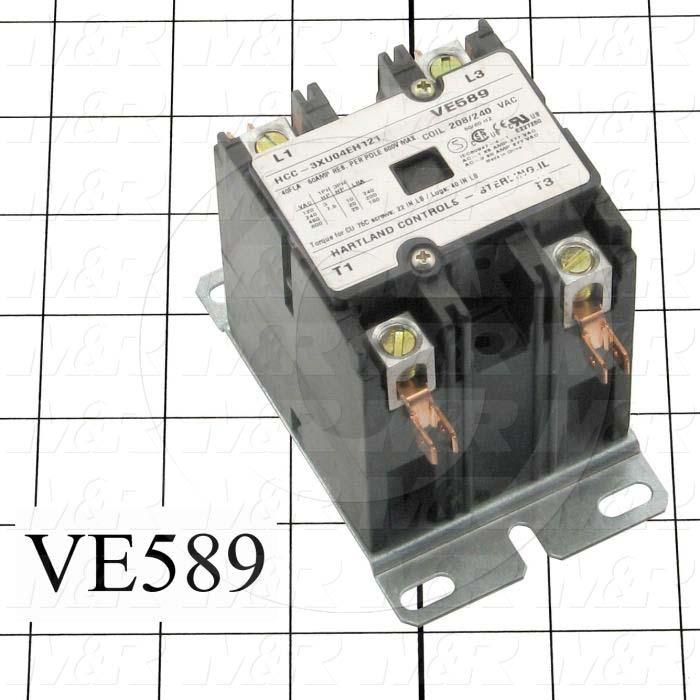 Contactor, 3 Poles, 208/240VAC Coil, 40A, 3 NO Contacts