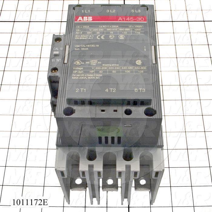 Contactor, 3 Poles, 240VAC Coil, 200A, 600VAC, 1NO, 1NC Aux Contact