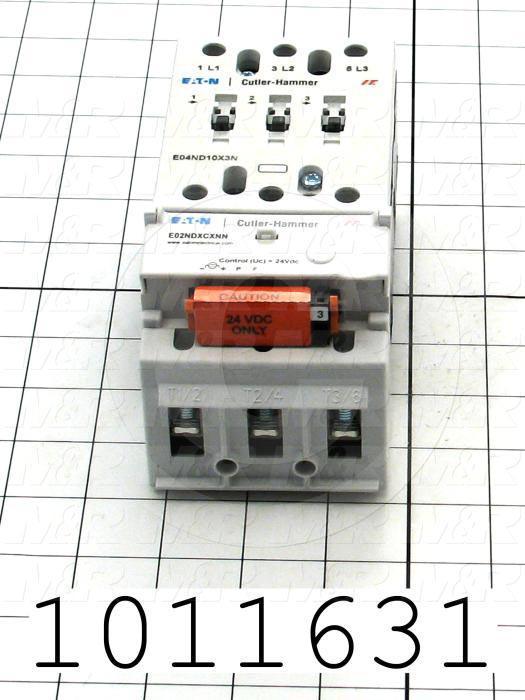 Contactor, 3 Poles, 24VDC Coil, 100A, 20 HP @ 3PH 200VAC, 575VAC, 50HP HP @ 3PH 460VAC, Screw Terminal Connection