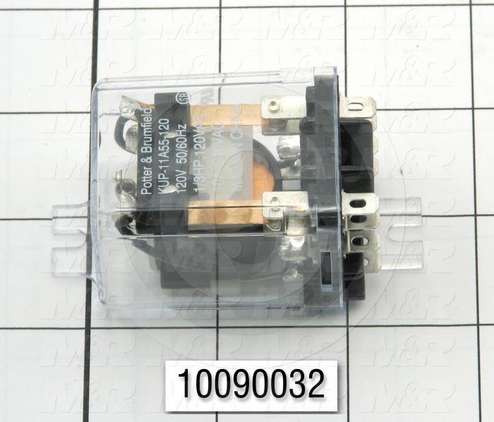 Control Relay, 2 Poles, 120VAC Coil Voltage, DPDT, 10A, 240VAC
