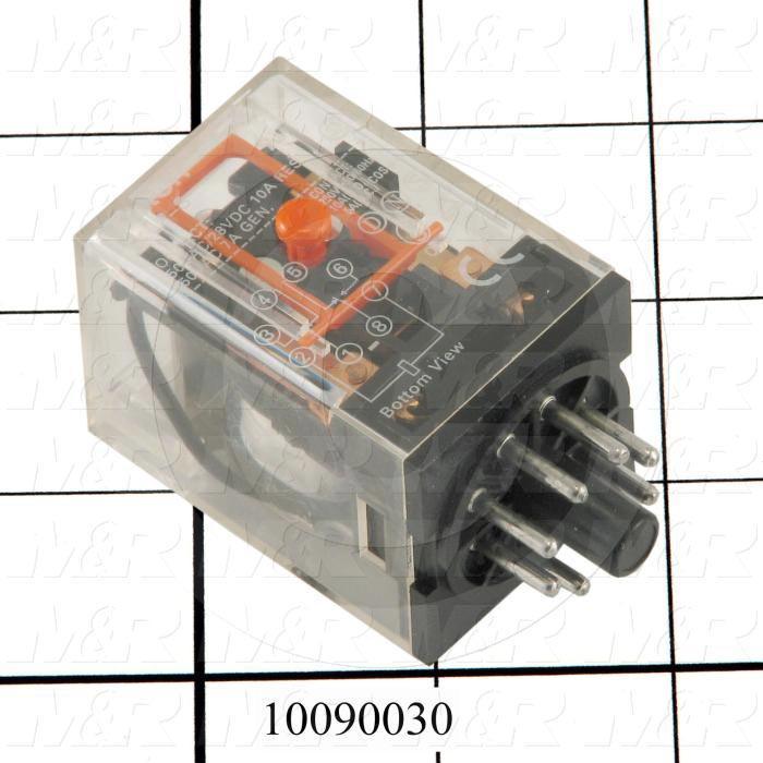 Control Relay, 2 Poles, 120VAC Coil Voltage, DPDT, 10A, Plug-in