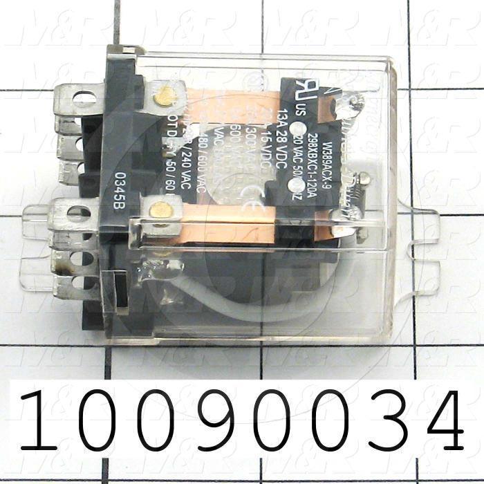 Control Relay, 2 Poles, 120VAC Coil Voltage, DPDT, 25A