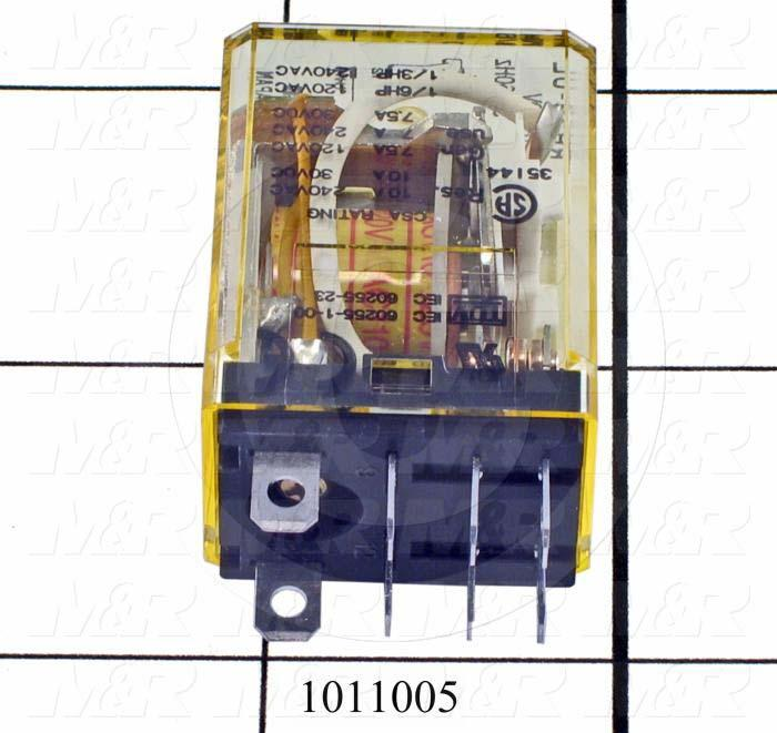 Control Relay, 2 Poles, 120VAC Coil Voltage, DPDT, with Indicator Light, 10A