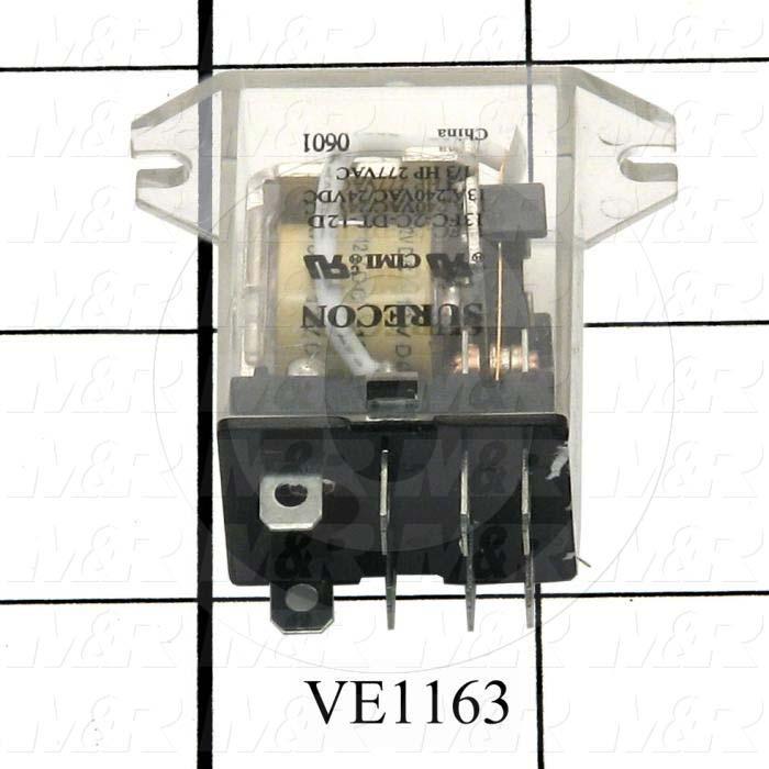 Control Relay, 2 Poles, 12VDC Coil Voltage, DPDT
