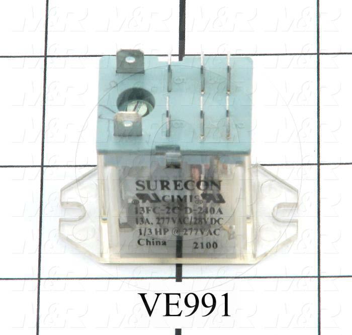 Control Relay, 2 Poles, 240VAC Coil Voltage, DPDT, 13A, 277VAC/28VDC