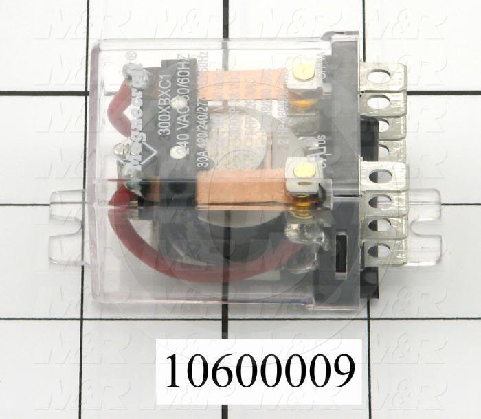 Control Relay, 2 Poles, 240VAC Coil Voltage, DPDT, 30A, 240VAC