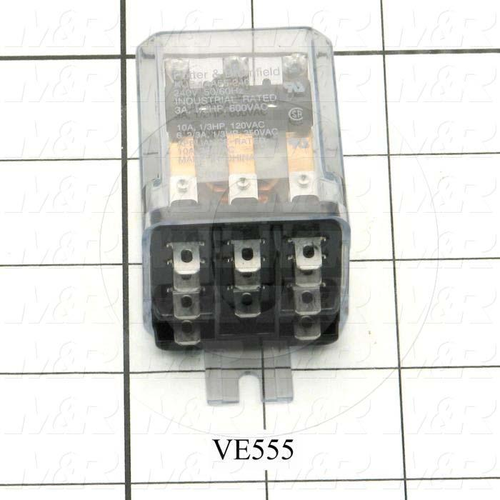 Control Relay, 240VAC Coil Voltage, 3PDT, 10A