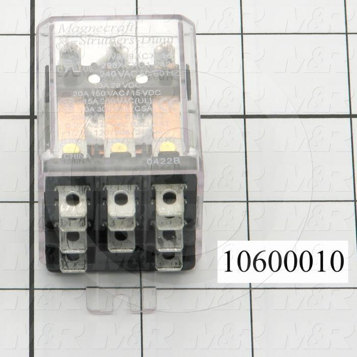 Control Relay, 240VAC Coil Voltage, 3PDT, 20A, Plug-in