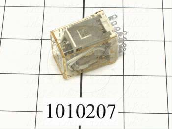 Control Relay, 4 Poles, 120VAC Coil Voltage, 4PDT, with Indicator Light, 1A