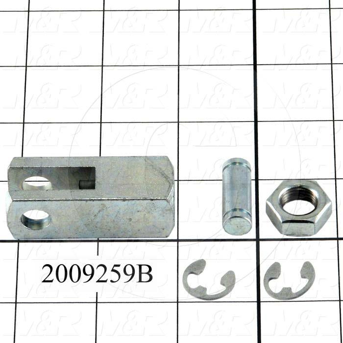 "Cylinder Clevis, 1/2-20 Thread Size, 0.75 in. Width, 2.12"" Length, .38""OD Pin Size, Include Pin, 2 Retaining Rings, Nut"