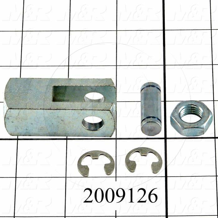 "Cylinder Clevis, 7/16-20 Thread Size, 1.03"" Width, 2.00"" Length, .38""OD Pin Size, Include Pin, 2 Retaining Rings, Nut"