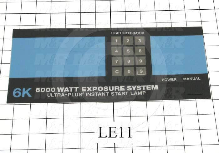 "Decals & Documents, Control Panel Nameplate, 4-27/32""X 12-1/4"" Size, Used On 6K Exposure System Fe"