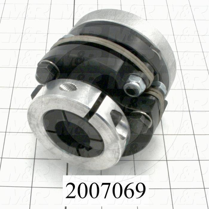 "Disc Type Coupling, Type Single Flex, Hub # 1 Bore 1"", Hub # 2 Bore 35 MM, Outside Diameter 3.75 in., Overall Length 3.40"", Clamping Style Collar, Disc Material Composite, Material Aluminum"