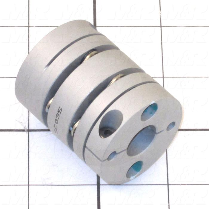 Disc Type Coupling, Type Single Flex, Hub # 1 Bore 10mm, Hub # 1 Outer Diameter 39mm, Hub # 2 Bore 14mm, Hub # 2  Outer Diameter 39mm, Overall Length 48mm, Clamping Style Clamp
