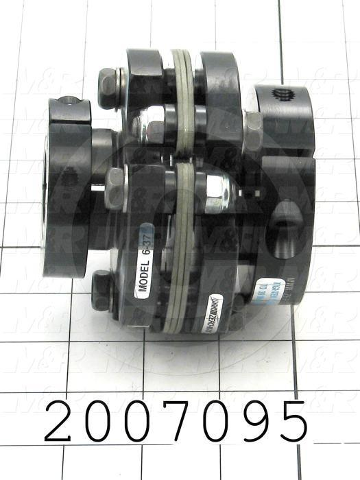 "Disc Type Coupling, Type Single Flex, Hub # 1 Bore 24 mm, Hub # 2 Bore 1"", Outside Diameter 94 mm, Overall Length 86.4 mm, Clamping Style Clamp, Disc Material Composite, Material Aluminum"