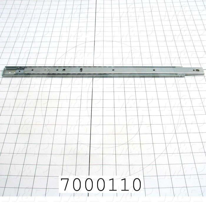 "Drawer Slides, Lock-Out with Front Disconnect Type, 18"" Closed Length, 13"" Travel Legth, 1.38"" Hight, .38"" Width, 140 Lb Load Rating"