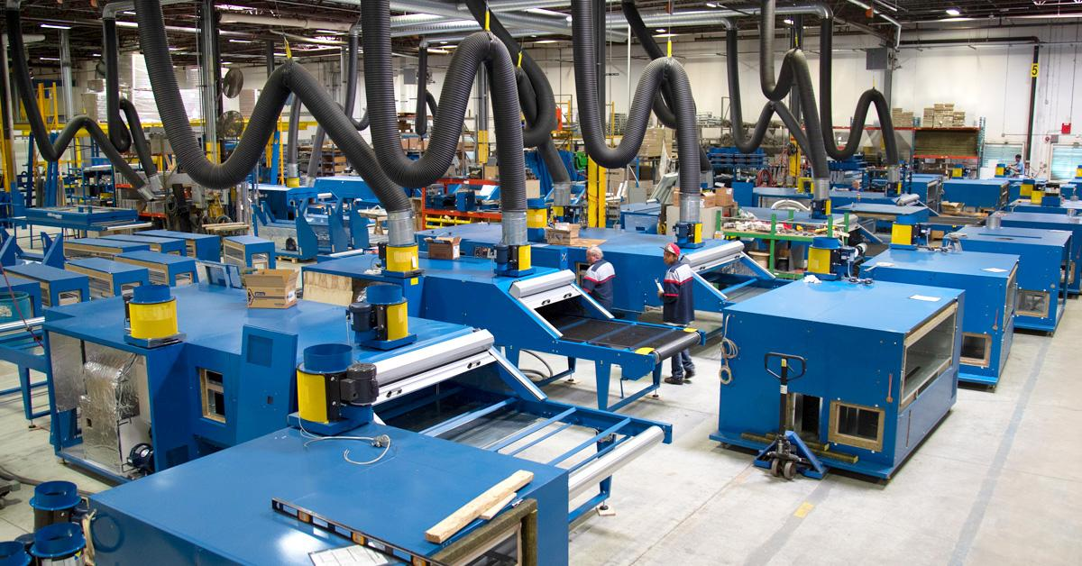 M&R dryers being manufactured in Roselle, Illinois.