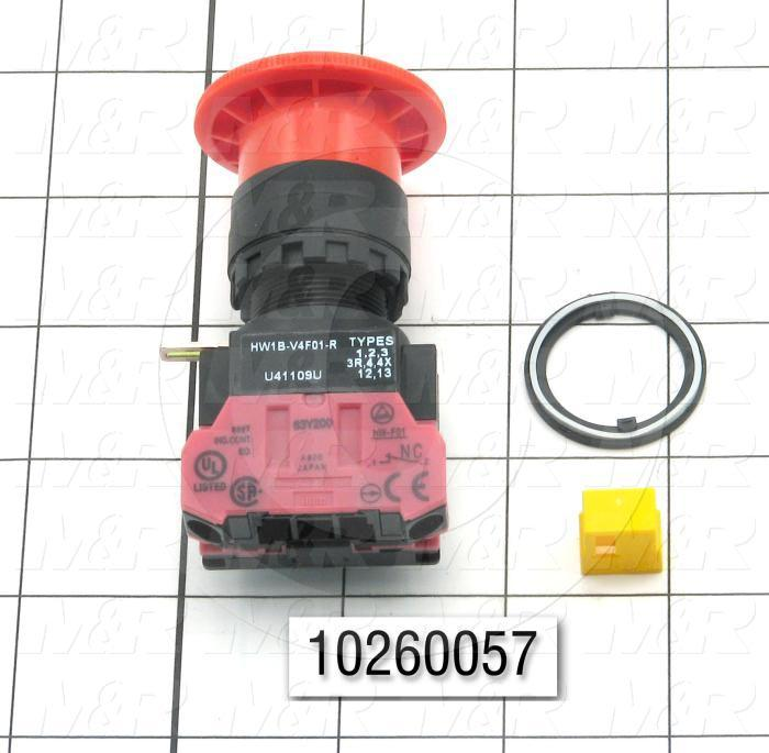 Emergency-Stop Switch, Pushlock Turn Reset, 40mm Mushroom, 1NC
