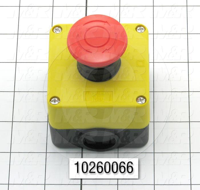 Emergency-Stop Switch, Station, Pushlock Turn Reset, 40mm Mushroom, 2NC