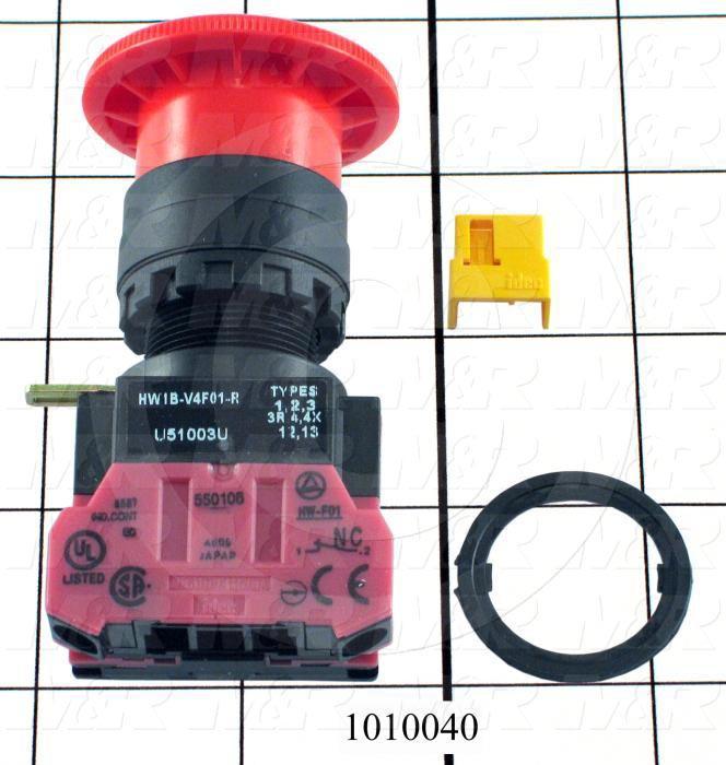 Emergency-Stop Switch, Unibody, Push-Pull, 30mm, 40mm Mushroom, 1NC, Non-Illuminate