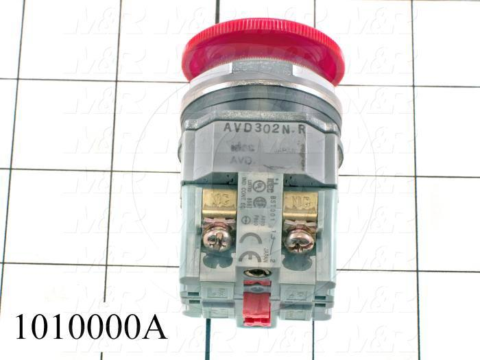 Emergency-Stop Switch, Unibody, Pushlock Turn Reset, 30mm, 40mm Mushroom, 2NC, Non-Illuminate