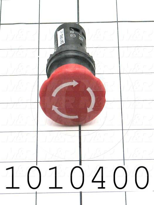 Emergency-Stop Switch, Unibody, Twist Release, 22mm, 40mm Mushroom, 2NC, Non-Illuminate