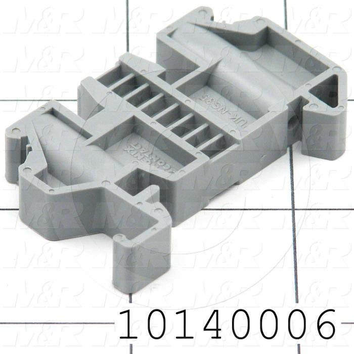 End Bracket, Din Rail Mount, 10mm, Gray