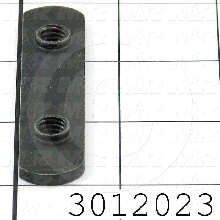 "Extrusions and Accessories, Double Economy T-Nut, 2.81"" Overall Length, 0.63"" Width, 5/16-18 Thread Size, Black Zinc"