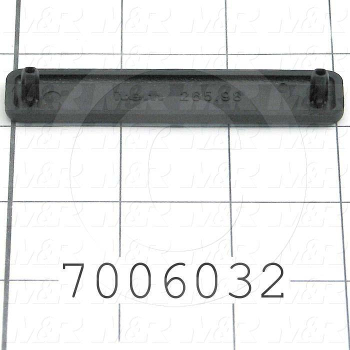 Extrusions and Accessories, End Cap, 80 mm Overall Length, 16 mm Width, Height 4 mm, Plastic, Black Color