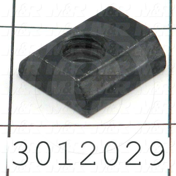 "Extrusions and Accessories, Standard T-Nut, 0.687"" Overall Length, 0.63"" Width, Height 0.25"", 1/4-20 Thread Size, Black Zinc"