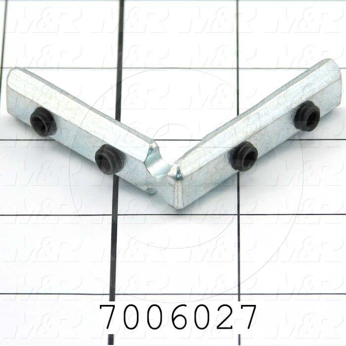 "Extrusions and Accessories, T-Slot Corner Bracket, 2.00 in. Overall Length, 0.50"" Width, Height 2.00 in., 1/4-20 Thread Size, Steel, Zinc Plated"