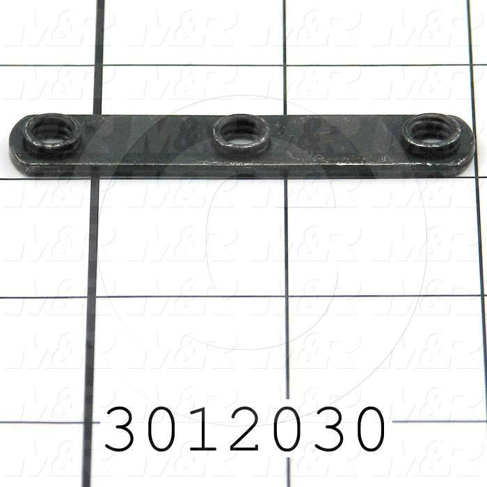 "Extrusions and Accessories, Triple Economy T-Nut, 2.450"" Overall Length, 0.440"" Width, Height 0.095"", 1/4-20 Thread Size, Black Zinc"