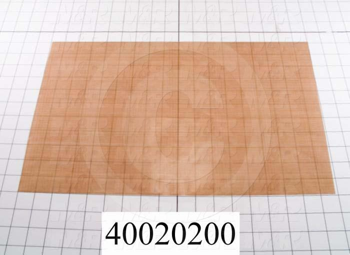 "Fabric, Teflon Coated Fiberglass Fabric, 0.003"", 11"", 17-3/8"", Natural Brown/Tan, 550'F"