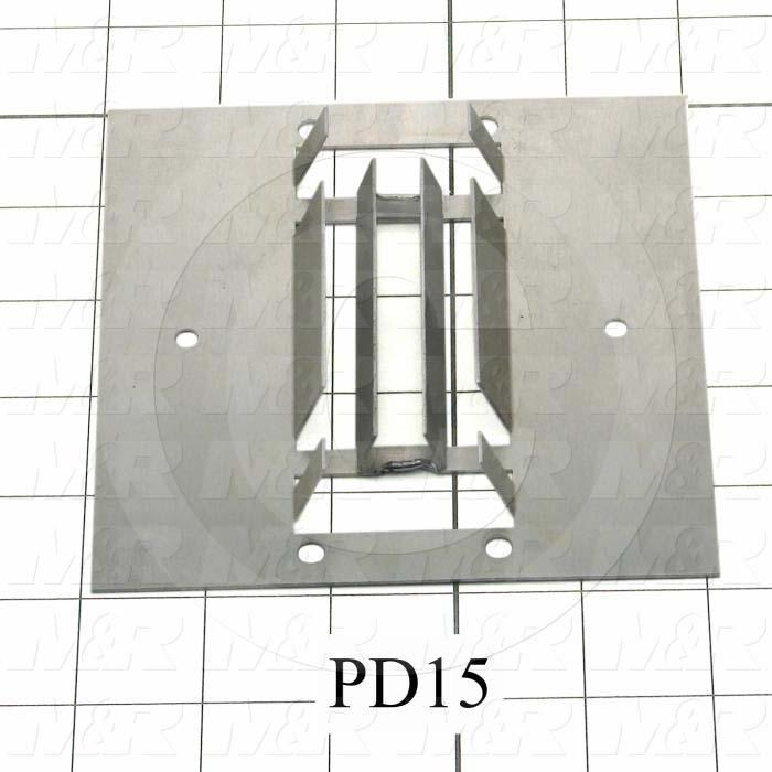Fabricated Parts, Air Diffuser Reflector, 5.00 in. Length, 5.00 in. Width, 0.03 in. Thickness, Used On Reflector Assembly