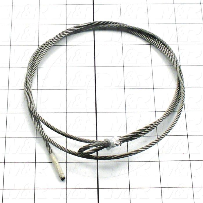 Fabricated Parts, Aircraft Cable, 50.00 in. Length, 1/8 in. Diameter, Cable Assembly Includes Clamps For Length Adjusting