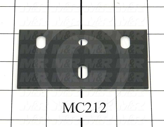 Fabricated Parts, Bearing Mtg Plate, 3.81 in. Length, 2.06 in. Width, 14 GA Thickness, Black Finish