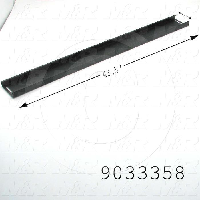 Fabricated Parts, Belt Adjustment Door, 43.50 in. Length, 3.00 in. Width, 0.75 in. Height, 18 GA Thickness