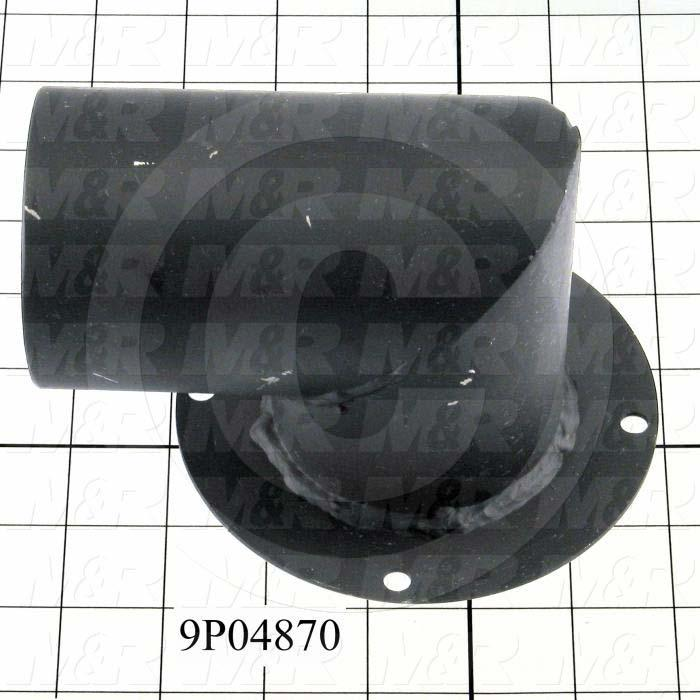 Fabricated Parts, Blow Back Elbow Weldment, 5.25 in. Length, 5.00 in. Width, 4.00 in. Height, Painted Black Finish