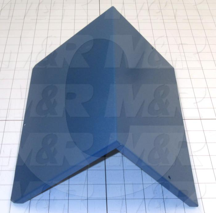 Fabricated Parts, Blower Box Cover, 11.66 in. Length, 7.18 in. Width, 6.54 in. Height, 18 GA Thickness, Painted Blue Finish