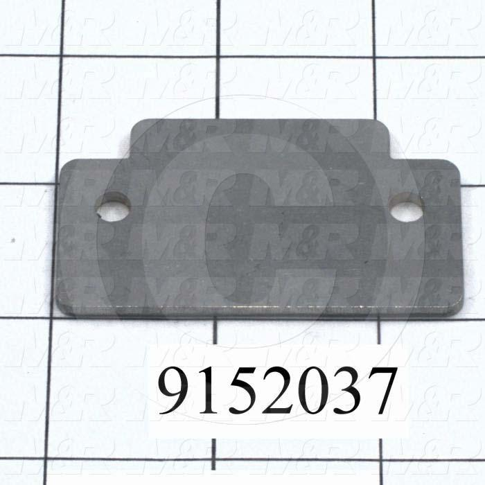 Fabricated Parts, Bumper Stop Bracket, 2.50 in. Length, 1.43 in. Width, 12 GA Thickness
